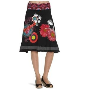 Desigual black pink embroidered printed skirt